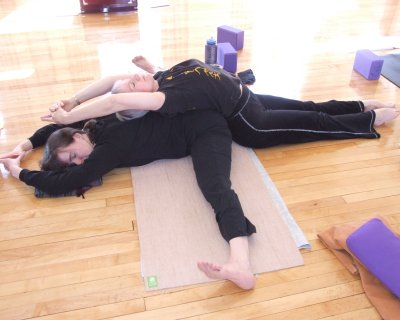 Partner Stretch Pyramid Forward Bend Extended Fish